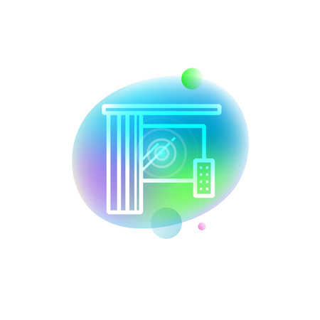 Vector illustration of automation of remote curtain electronic control icon on neon stain background. Home automation technology. Иллюстрация