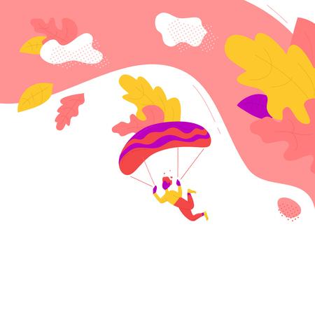 Purple man flights paraglider
