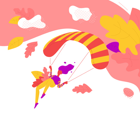 Red woman flights paraglider