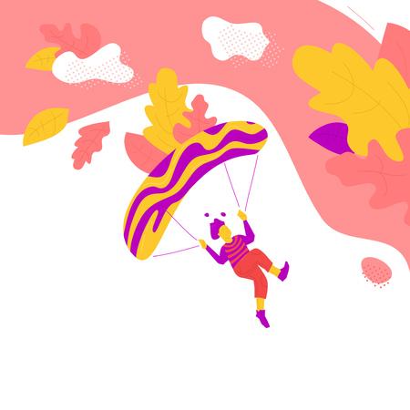 Yellow man flights paraglider