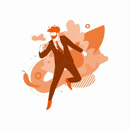 Vector illustration of a man having fun and jumping with slice of pizza. Dynamic flat design of fast food for mobile app, web, delivery banner. Illustration