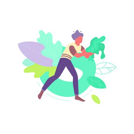 Man with kale leaves Illustration