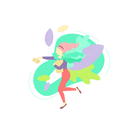 Vector illustration of a woman holding a bag with kale leaves. Dynamic flat colorful illustration. Background or spot design.