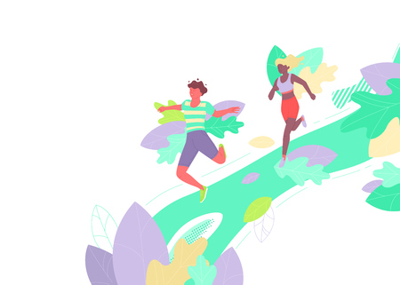 Vector illustration of two people jogging in summer. Dynamic flat colorful illustration. Background or border design.
