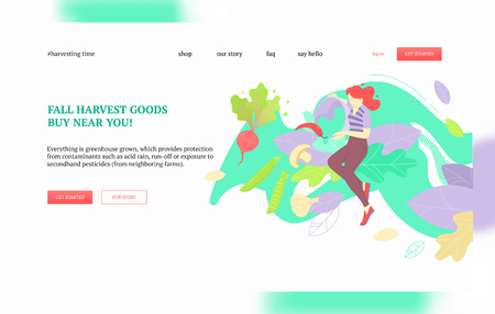 Woman pouring out vegetables: green peas, beetroot, mushrooms, peppers. Harvest, local greens and farmers market concept. Landing page or web banner vector template. Çizim