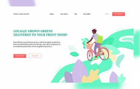 Man on a bike delivering kale leaves. Harvest, local greens and farmers market goods delivery concept. Landing page or web banner vector template.