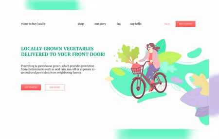 Woman on a bike delivering big beetroot. Harvest, local greens and farmers market goods delivery concept. Landing page or web banner vector template.