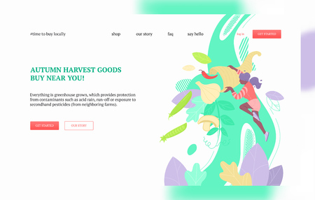 Woman pouring out of cornucopia green peas, garlic, mushrooms, peppers. Harvest, local greens and farmers market concept. Landing page or web banner vector template. Çizim
