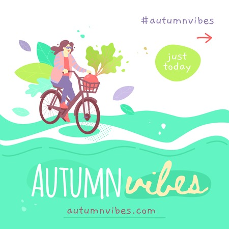 Vector template of Autumn Sale banner design with two people harvesting corn. Square format. 일러스트