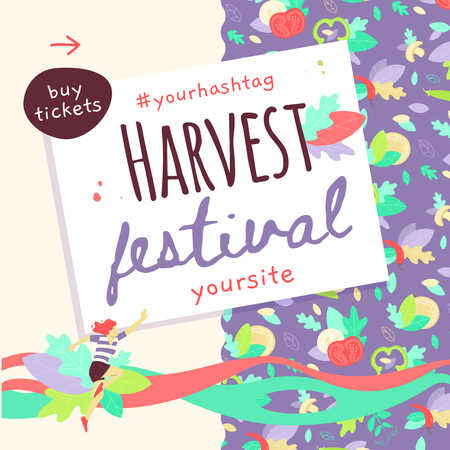 Vector template of Harvest festival banner design with girl jumping in the air. Square format.