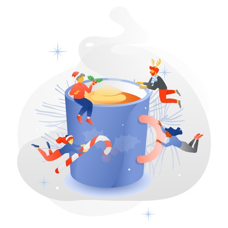 Vector illustration of big eggnog mug surrounded by happy tiny multi-colored people in Christmas headwears. New Year template for cards, invitations, banners, decorations, and more holidays purposes.