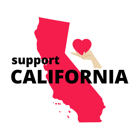 Support and charity minimal design after wildfires in southern California with Support California words, map of California state and hand with heart.