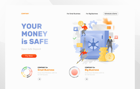 Website header template with big metaphoric safe surrounded tiny people characters, paper money, credit card and coins. Vector illustration concepts for web and app development Illustration