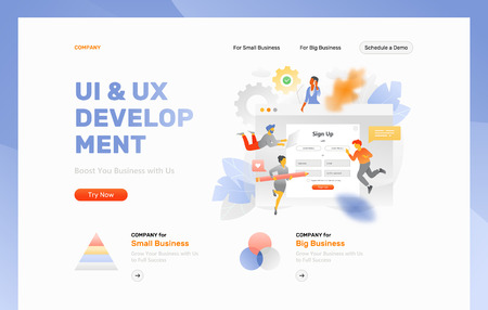 Website header template with big metaphoric sign up form surrounded by tiny people characters, cogwheels and leaves. Vector illustration concepts for web and app development