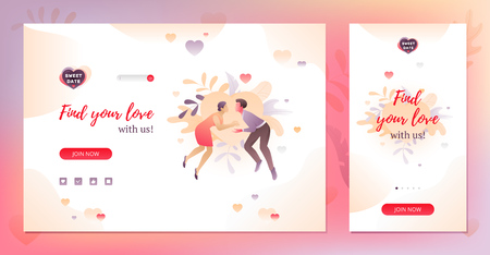 Online dating application design template with romantic illustration of young couple. Desktop and mobile version.
