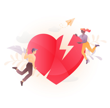 Vector illustration of two young people characters holding a broken heart. A modern concept of a troubled relationship.