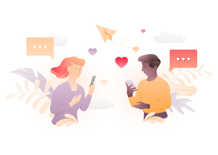 Vector illustration of two young people chatting through mobile phones. A modern concept of social network acquaintance or virtual relationship. Ilustração