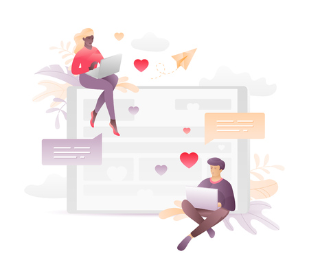 Vector illustration of two young people chatting through laptops. A modern concept of social network acquaintance or virtual relationship. Иллюстрация
