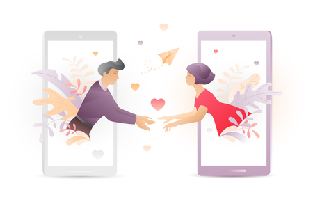 Vector illustration of two young people meeting each other through mobile phones screens. A modern concept of social network acquaintance or Valentine greeting.