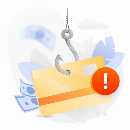 Credit card phishing alert vector illustration. Bank card on a big symbolic hook with an alert sign. Cybercrime and fraud concept.