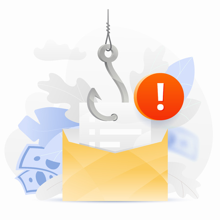 Email phishing alert vector illustration. An envelope on a big symbolic hook with an alert sign. Cybercrime and fraud concept.