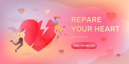 Dating service web banner with young couple, broken heart, words Repare Your Heart and call to action button. Romantic and Valentines day concept.