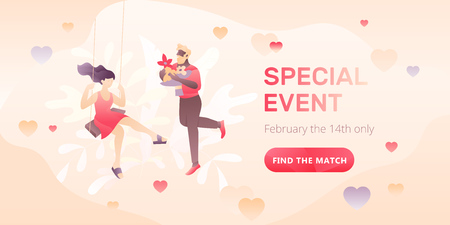 Dating service web banner with young dating couple, words Special Event and call to action button. Romantic and Valentines day concept. Иллюстрация