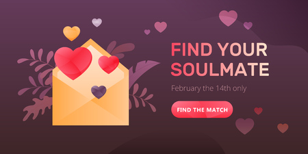 Dating service web banner with an envelope and hearts, words Find Your Soulmate and call to action button. Romantic and Valentines day concept.