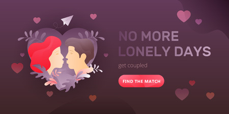 Dating service web banner with young kissing couple, words No More Lonely Days and call to action button. Romantic and Valentines day concept. Иллюстрация