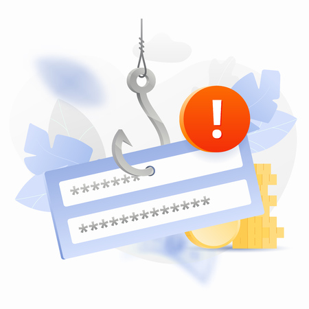 Password phishing alert vector illustration. Login and password block on a big symbolic hook with an alert sign. Cybercrime and fraud concept.