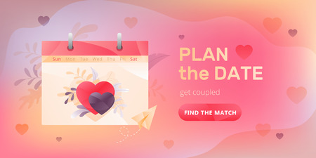 Dating service web banner with calendar, two hearts, words Plane the Date and call to action button. Romantic and Valentines day concept.