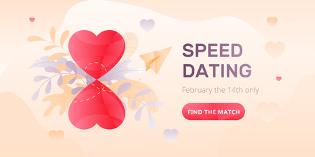 Dating service web banner with hourglasses in form of two hearts, paper plane, words Speed Dating and call to action button. Romantic and Valentines day concept.