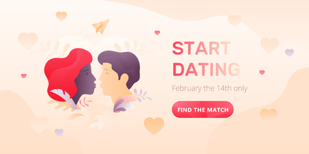 Dating service web banner with young kissing couple, words Start Dating and call to action button. Romantic and Valentines day concept. Иллюстрация