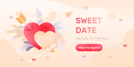 Dating service web banner with two hearts and arrow, paper plane, words Sweet Date and call to action button. Romantic and Valentines day concept. Иллюстрация