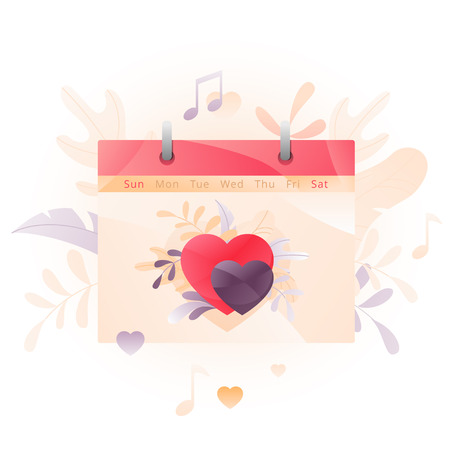Vector illustration of a calendar sheet with two hearts over white background. A modern concept of Valentine greeting and planning a date. Иллюстрация