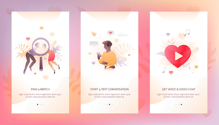 Vector design template of dating app UI. Onboarding illustrations with people characters and hearts for online communication. Иллюстрация