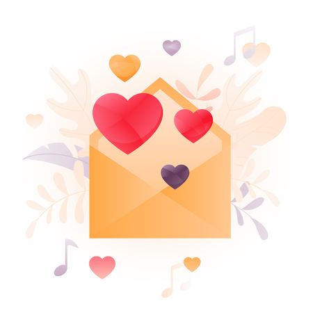 Vector illustration of an envelope with hearts over white background. A modern concept of Valentine greeting. Иллюстрация