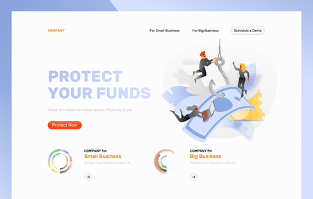 Money phishing attack vector design template. Tiny hackers characters pull of paper money by the hook. Cybercrime and fraud concept. Иллюстрация