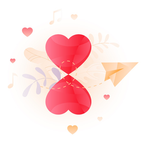 Vector illustration of two heart in shape of hourglass over white background. A modern concept of Valentine greeting, speed dating and dating online.