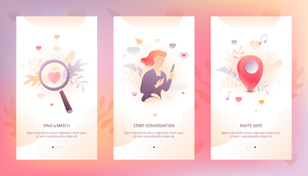 Vector design template of dating app UI. Onboarding illustrations with woman character, heart and map pin for online communication.