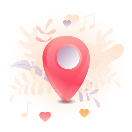 Vector illustration of a big map pin over white background. A modern concept of dating online and invite a date.