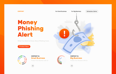 Money phishing alert vector design template. Paper money on a big symbolic hook with an alert sign. Cybercrime and fraud concept.