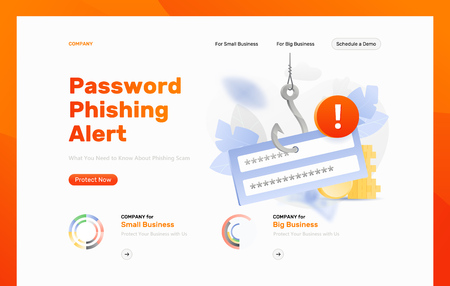 Password phishing alert vector design template. Login and password block on a big symbolic hook with an alert sign. Cybercrime and fraud concept. Иллюстрация