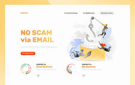 Email phishing attack vector design template. Tiny hackers characters pull of an envelope by the hook. Cybercrime and fraud concept.