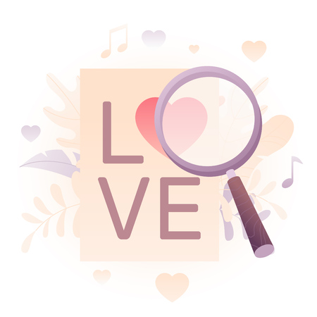 Vector illustration of a big magnifying glass heart in crown over white background. A modern concept of Valentine greeting and dating online.