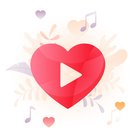 Vector illustration of heart with a video player button over white background. A modern concept of Valentine video chat and dating online. Illustration