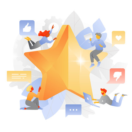 Big rating star tars and young happy people around. Feedback, customer review or rating concept. Modern dynamic flat illustration.