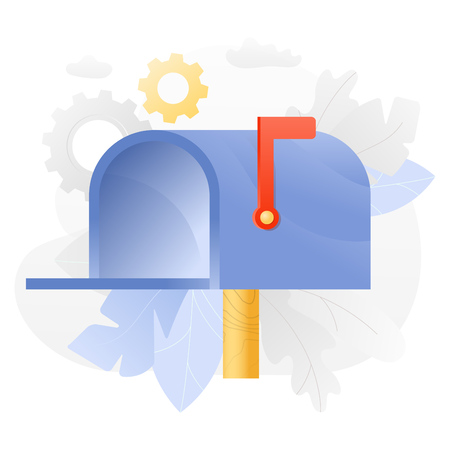 Vector illustration of an open mailbox over white background surrounded by light gradiented leaves, cogwheels and clouds.