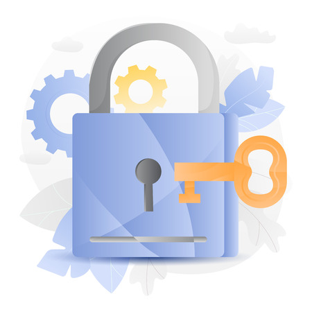Vector illustration of a big padlock with key over white background surrounded by light gradiented leaves, cogwheels and clouds.