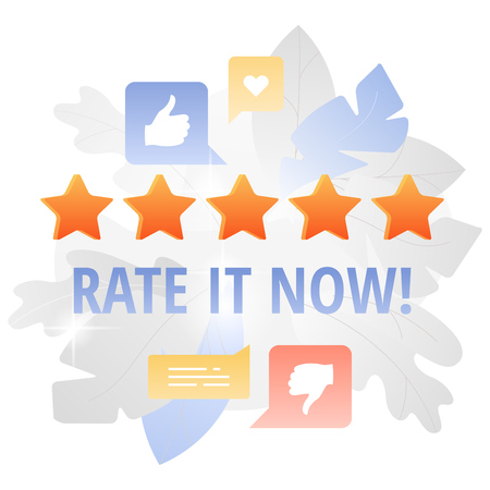 Five stars and social media icons around. Feedback, customer review or rating concept.
